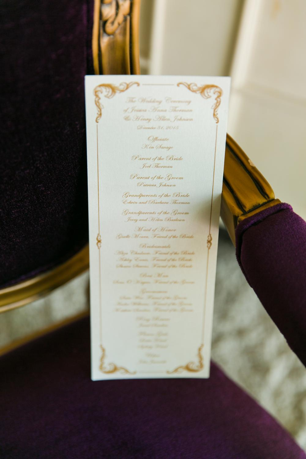 Antique Gold & Black Elegant Vintage Wedding Program