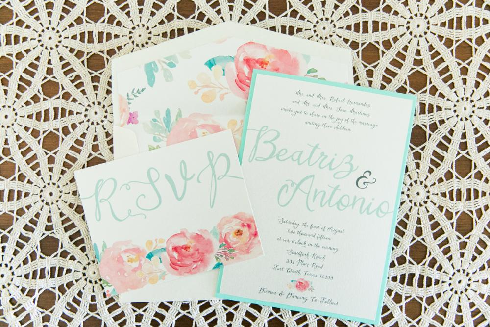 Coral and Mint Floral Flowers Water Color Invitation