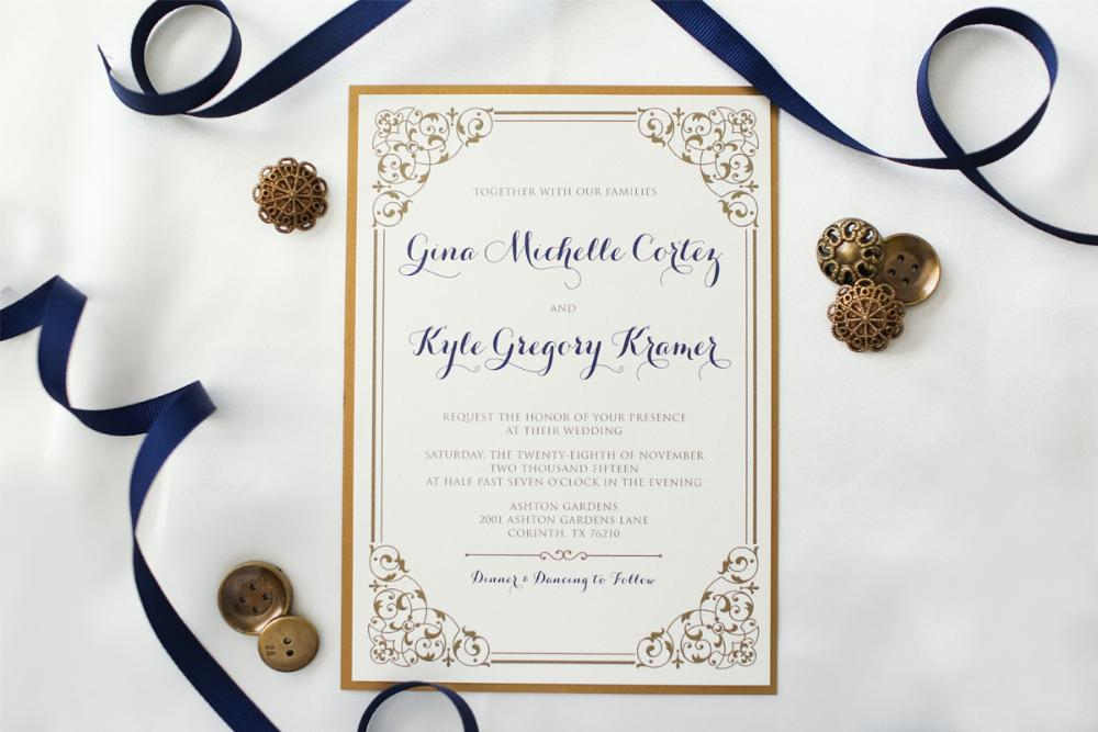 romantic gold navy blue vintage layered wedding invitation - Layered Wedding Invitations