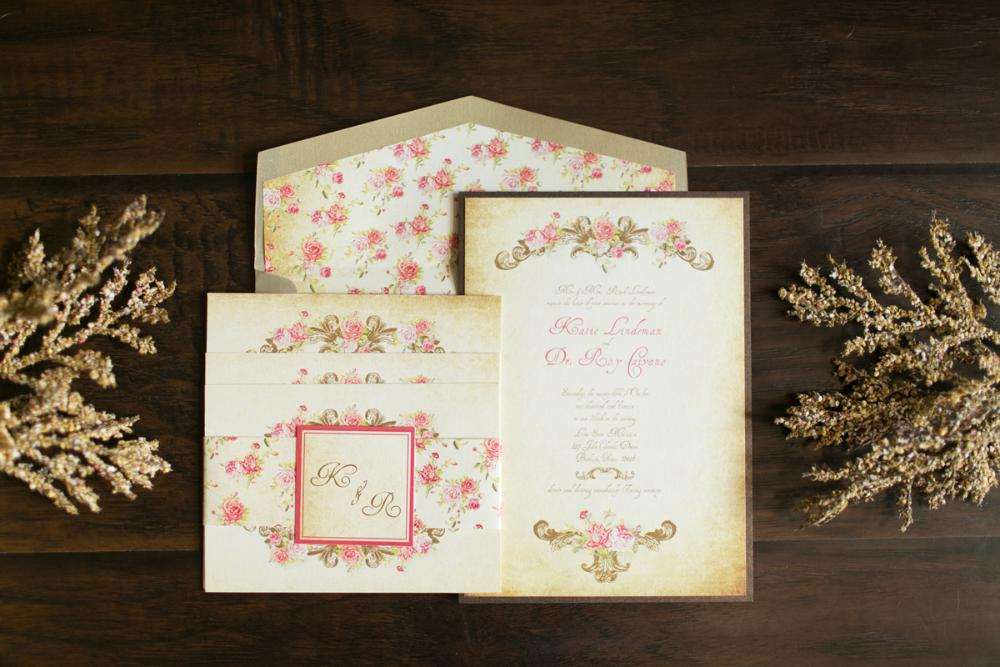 Pink and Gold Vintage Victorian Romantic Floral Wedding Invitation
