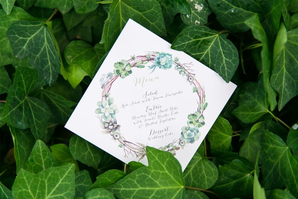 Natural Greenery Branches Succulents Wedding Menu