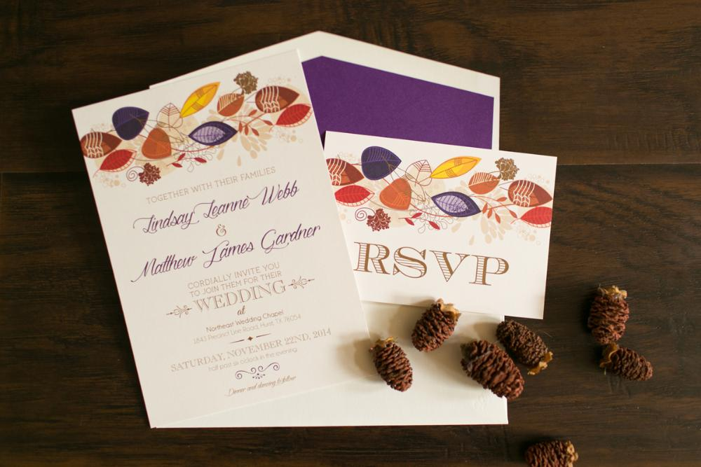 Purple Orange Red Yellow Fall Leaves Wedding Invitation