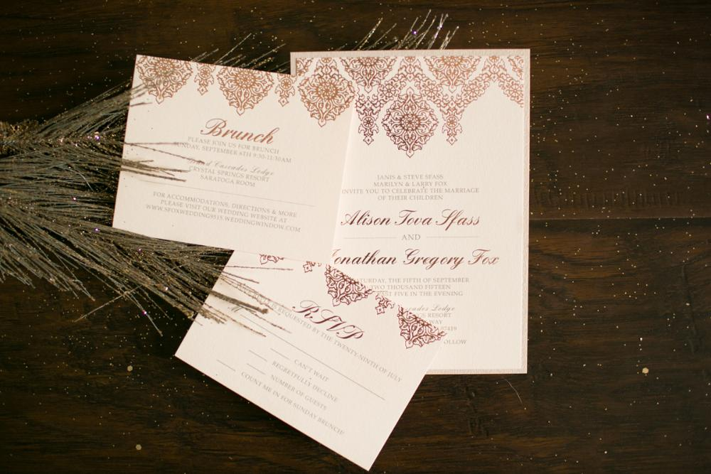 Layered Rose Gold Elegant Formal Luxury Letterpress Foil Wedding Invitation