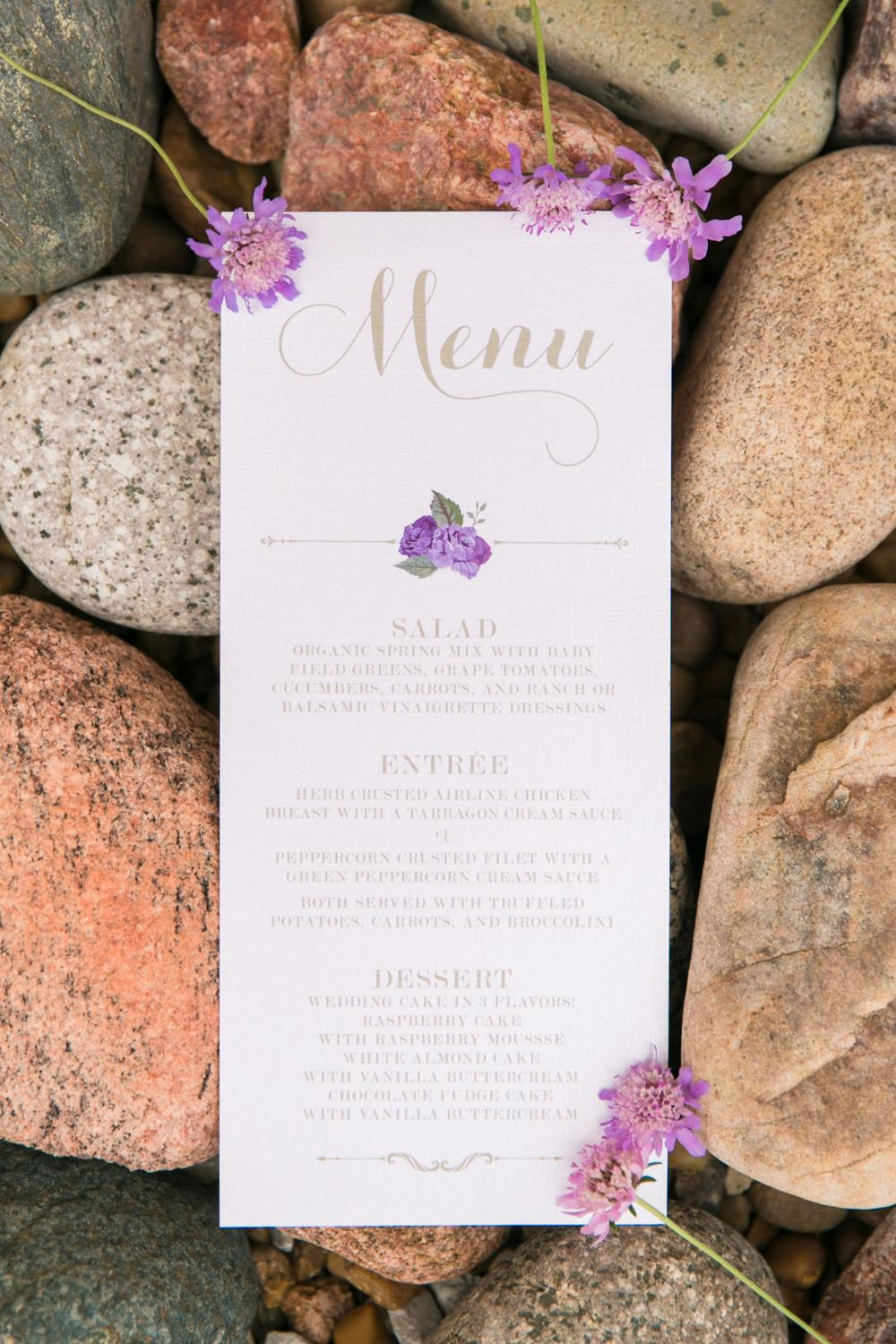 Gold and Purple Roses Formal Wedding Menu