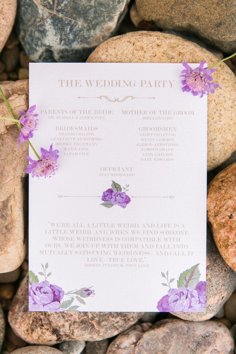 Gold and Purple Roses Floral Wedding Program