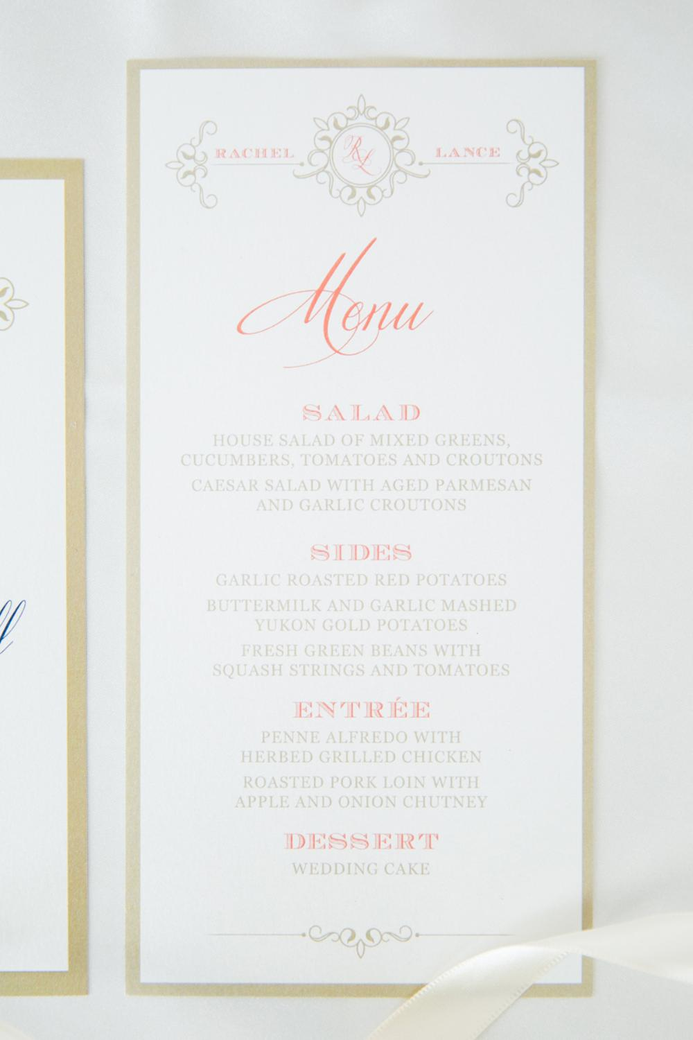 Coral and Gold Formal Elegant Wedding Menu