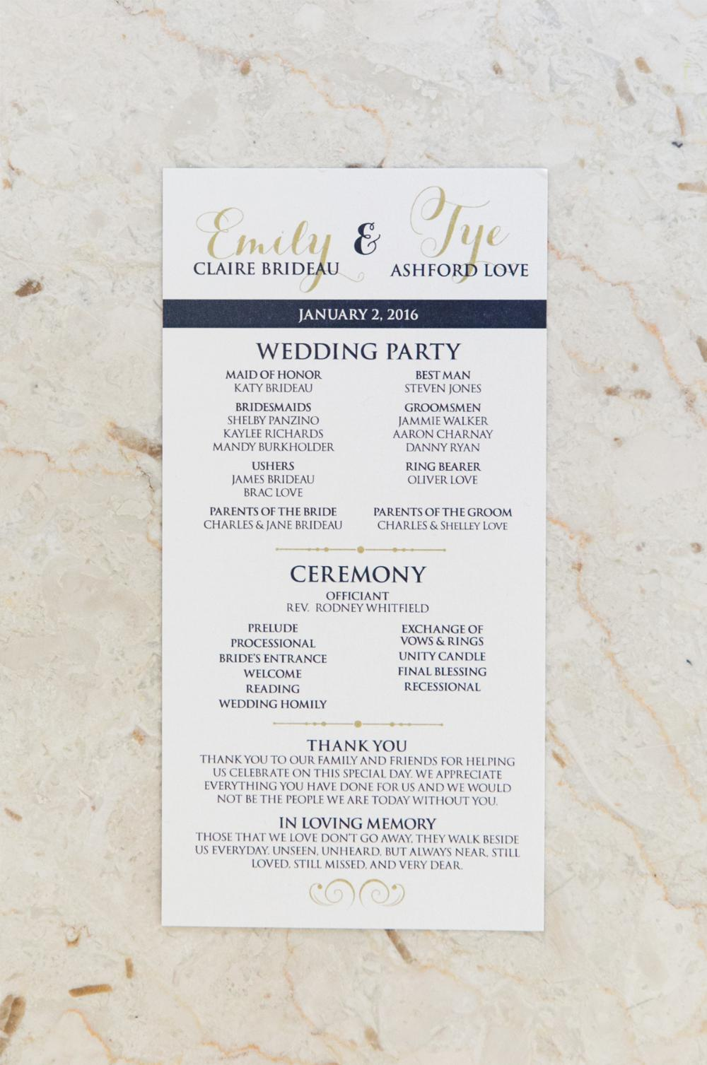 Navy Blue and Gold Formal Wedding Program