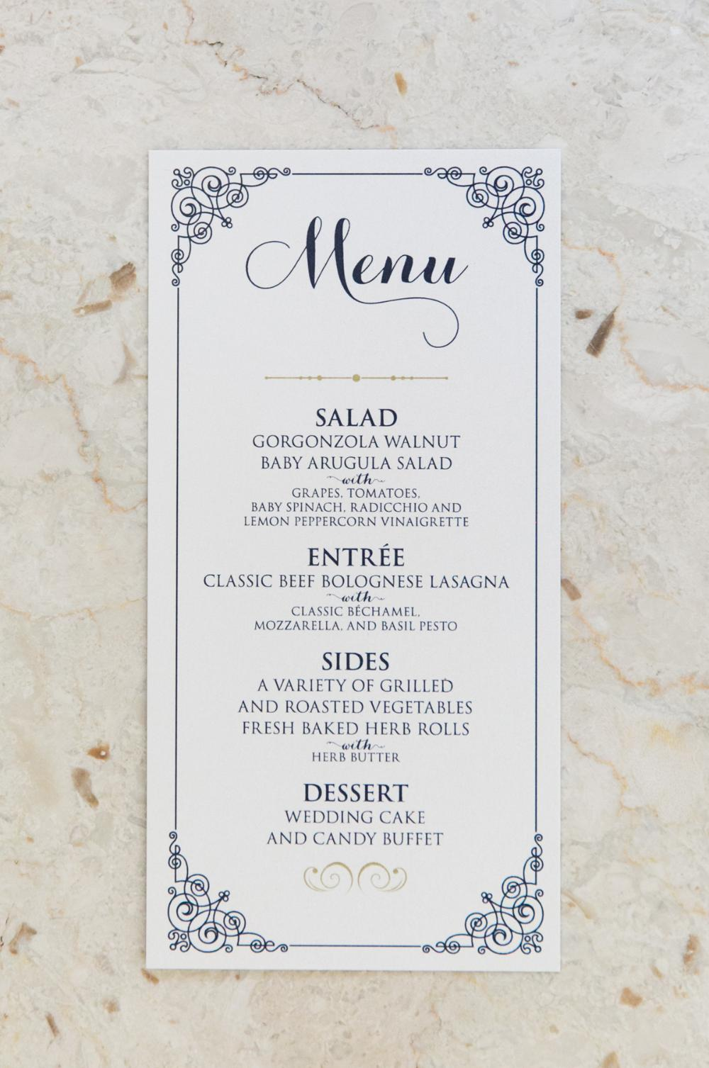 Navy Blue and Gold Formal Wedding Menu
