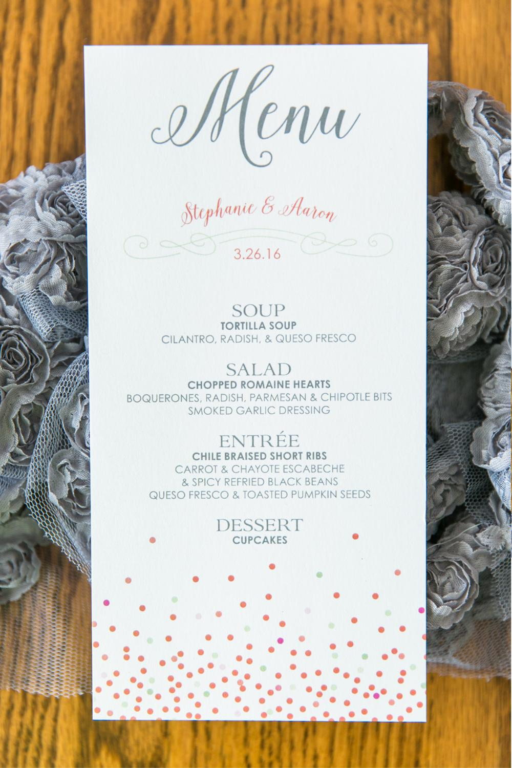 Coral and Mint Playful Confetti Wedding Menu