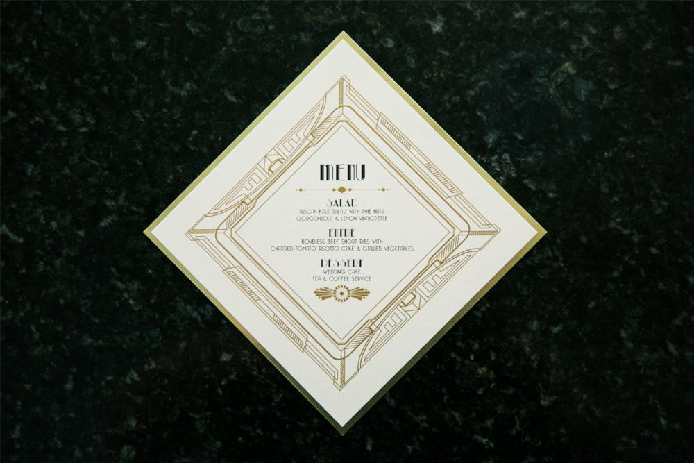 Great Gatsby Art Deco Black and Gold Geometric Diamond Wedding Menu