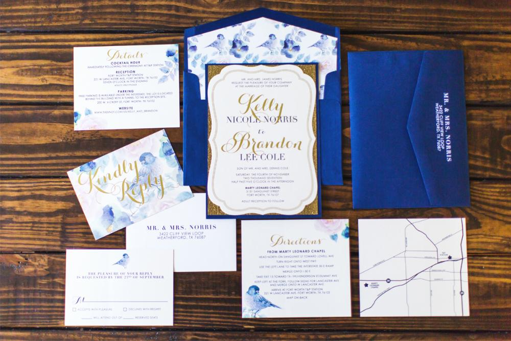 navy gold metallic glitter silhouette die cut vintage with floral bird wedding invitation - Layered Wedding Invitations