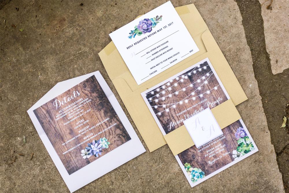 purple rustic country wood string lights succulents layered wedding invitation - Layered Wedding Invitations