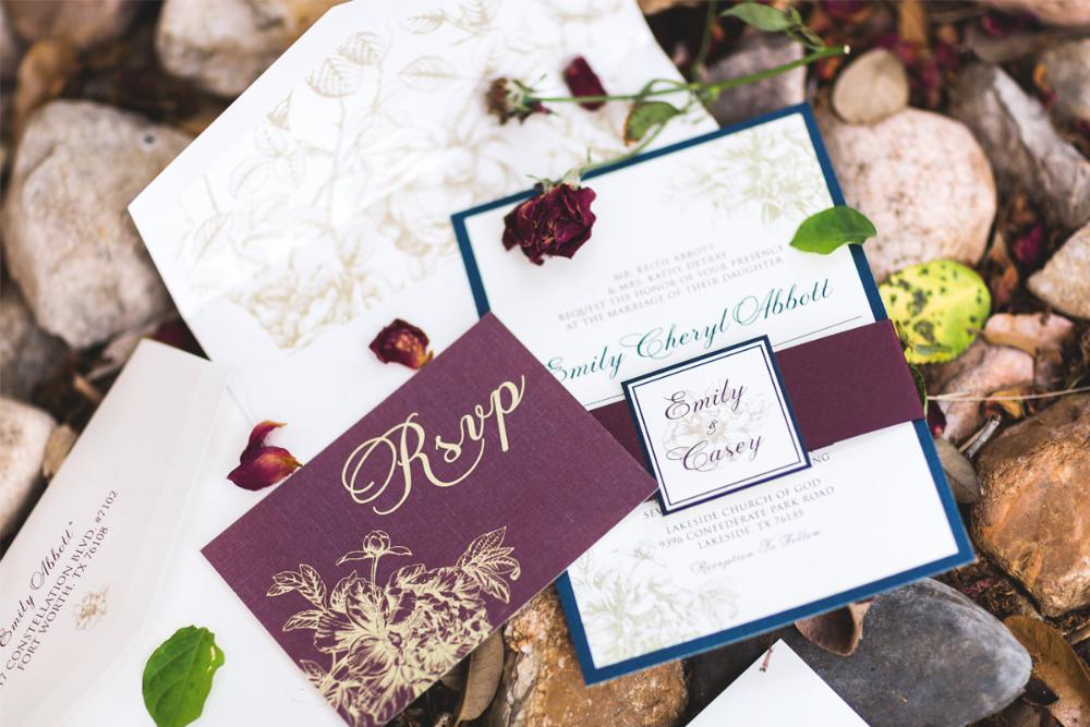 Burgundy Marsala Navy Blue Gold Vintage Floral Romantic Wedding Invitation