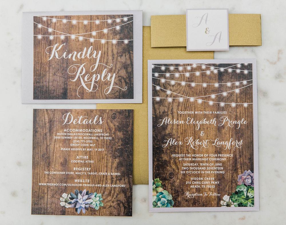 Purple Rustic Country Wood String Lights Succulents Layered Wedding Invitation
