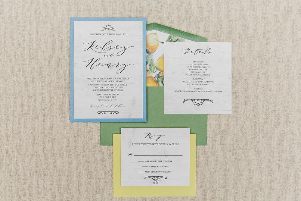 Back Pocket Wedding Invitation In Blue Green Yellow With White Wood And Lemons