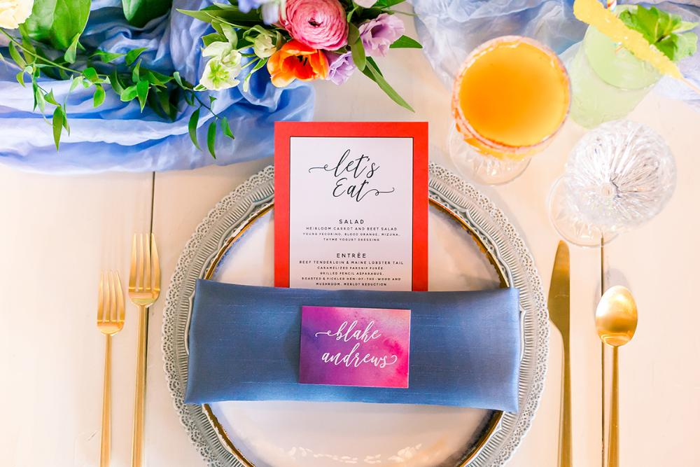 Brightly Colored Watercolor Modern Menu and Place Card