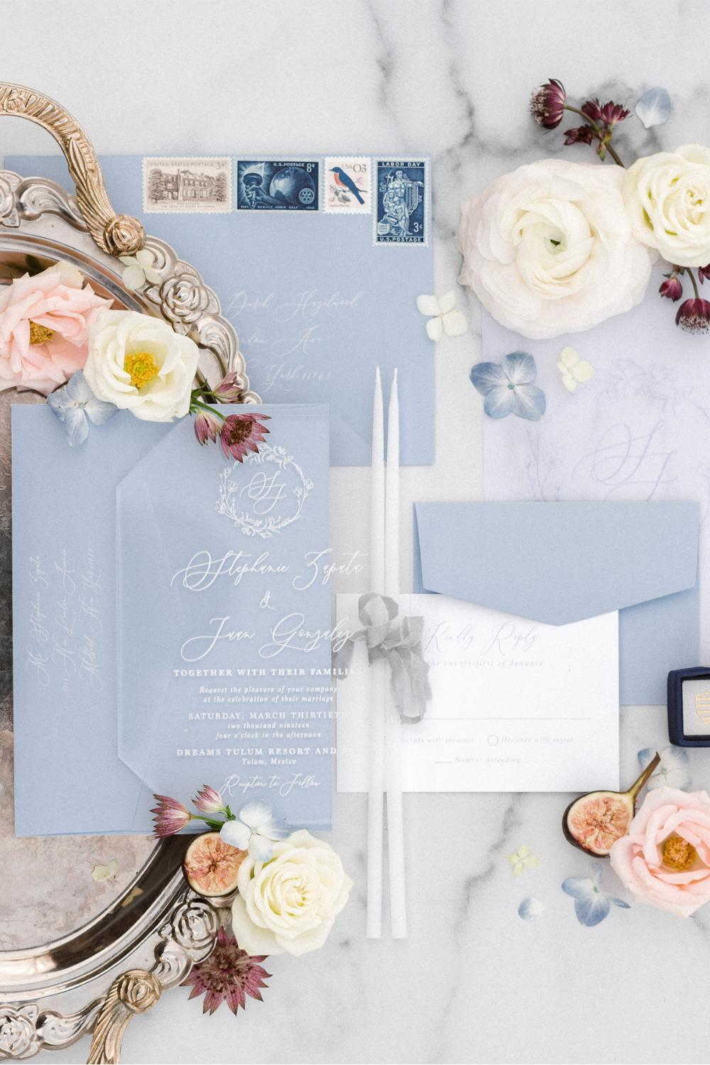 Acrylic Romantic White and Blue Calligraphy Transparent Wedding Invitation with Floral Monogram in Crystal Clear, Vellum Overlay & Envelopes