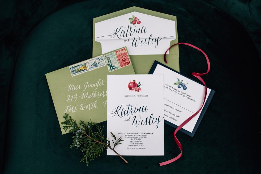 Green & Navy Blue Winter Fruit Pomegranate Blackberries Strawberries Wedding Invitation