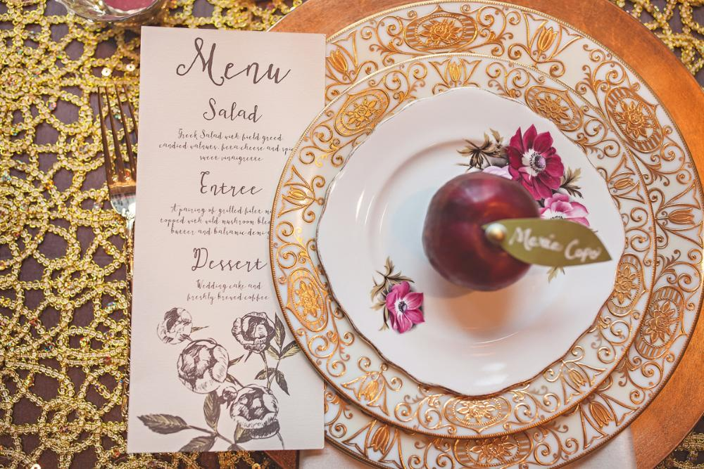 Floral Calligraphy Style Wedding Menu