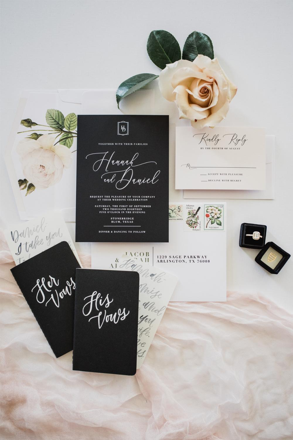 Simple Minimalist Modern Geometric Monogram Black & White Wedding Invitation with Calligraphy and Blush Floral