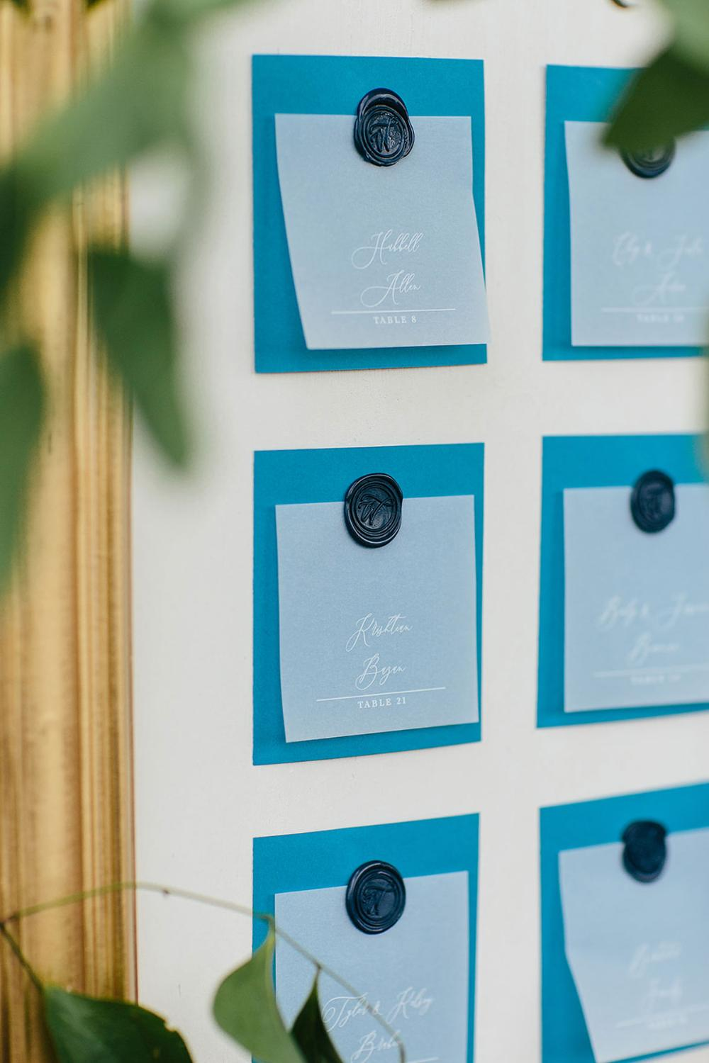 Vellum Wedding Escort Cards Cards with White Delicate Calligraphy Script, Blue Backer and Wax Seal with Guest Name