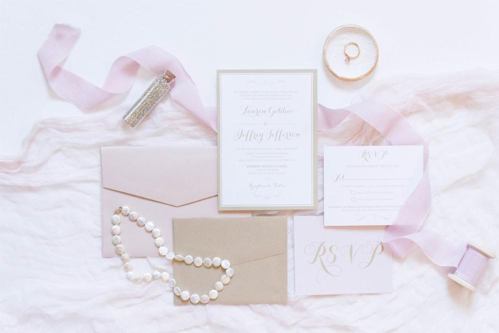Pink Blush and Champagne Gold Modern Wedding Invitation Suite with and RSVP