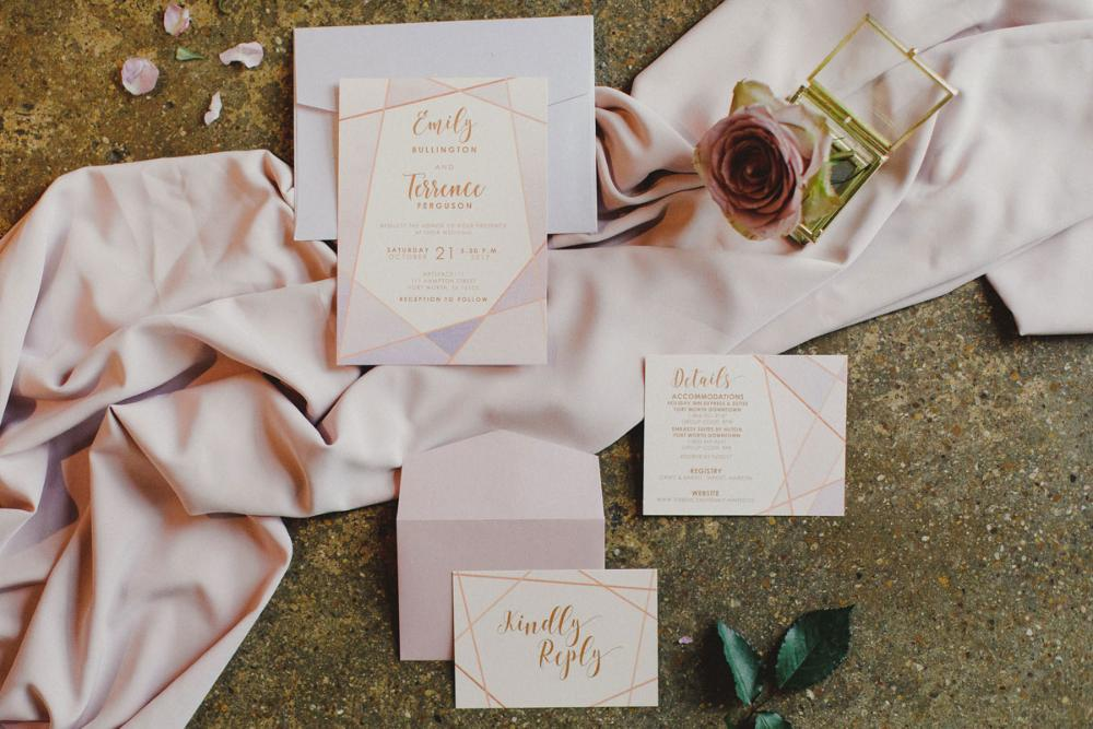 Blush, Lavender & Rose Gold Geometric Water Color Modern Wedding Invitation