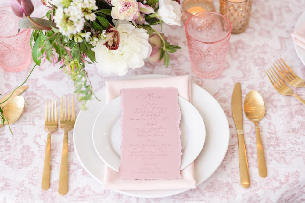 Vintage Blush Pink Wedding Menu with Ripped Edges, Delicate Calligraphy Script, Printed Menu
