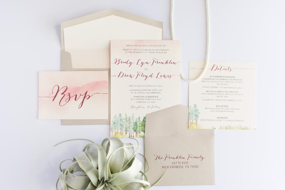 Water Color Forest Trees Wedding Invitation In Pink, Champagne Gold And  Burgundy
