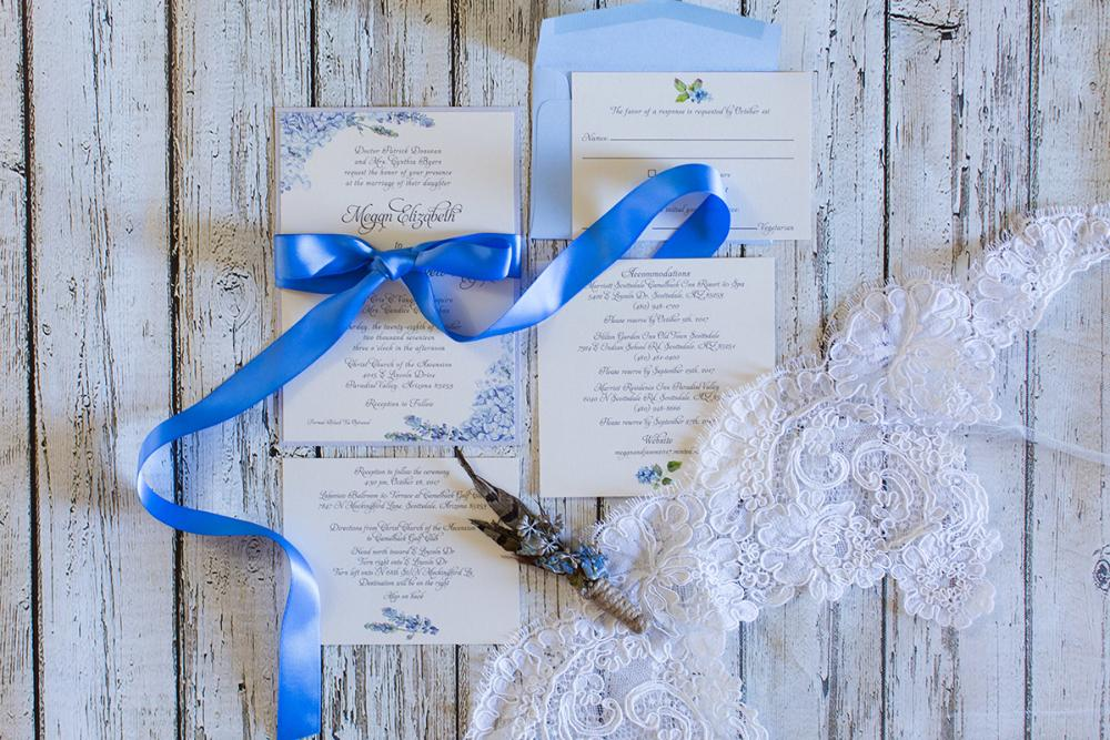Light Blue and Silver Hydrangeas Floral Flowers Formal Wedding Invitation