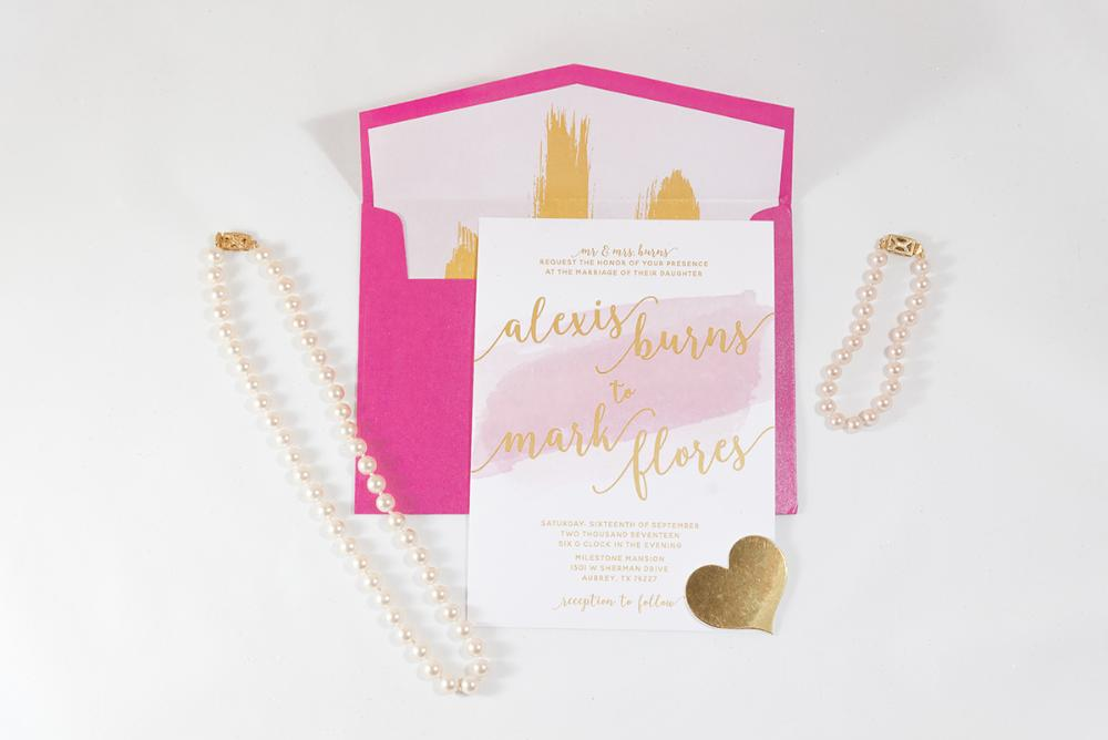 Hot Pink and Gold Water Color Wedding Invitation