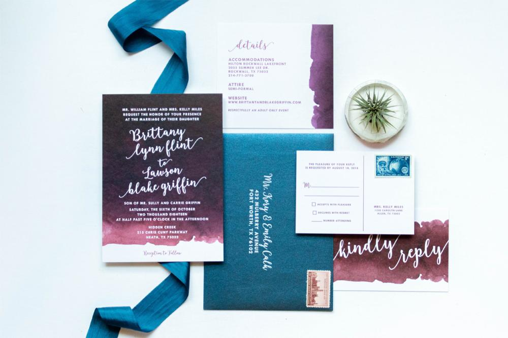 Burgundy, Sangria, Wine, Marsala and Navy Blue Water Color Wedding Invitation Suite with RSVP & Envelope