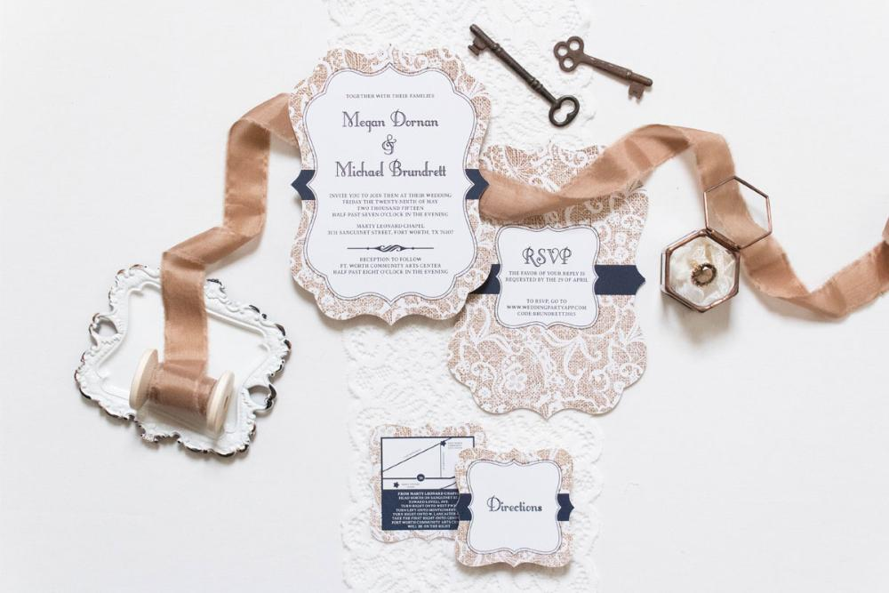Die Cut Burlap and Lace Navy Country Rustic Wedding Invitation