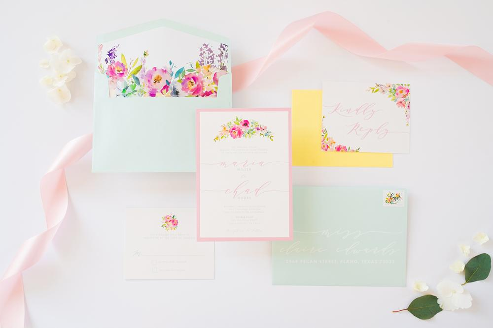 Pastel Colors — Robin's Egg Blue, Blush Pink and Yellow Floral Spring Wedding Invitation with RSVP, Envelope Liner