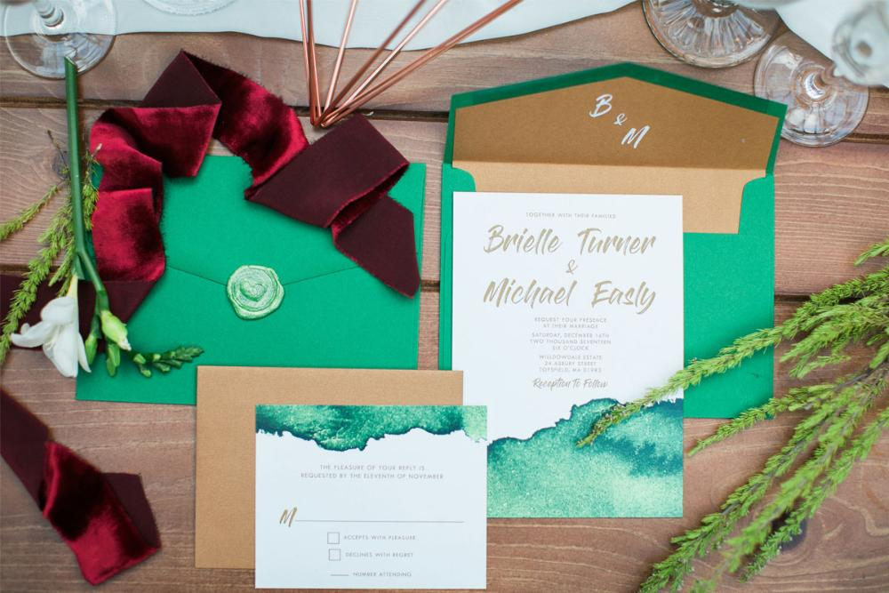 Modern Copper & Green Water Color Wedding Invitation