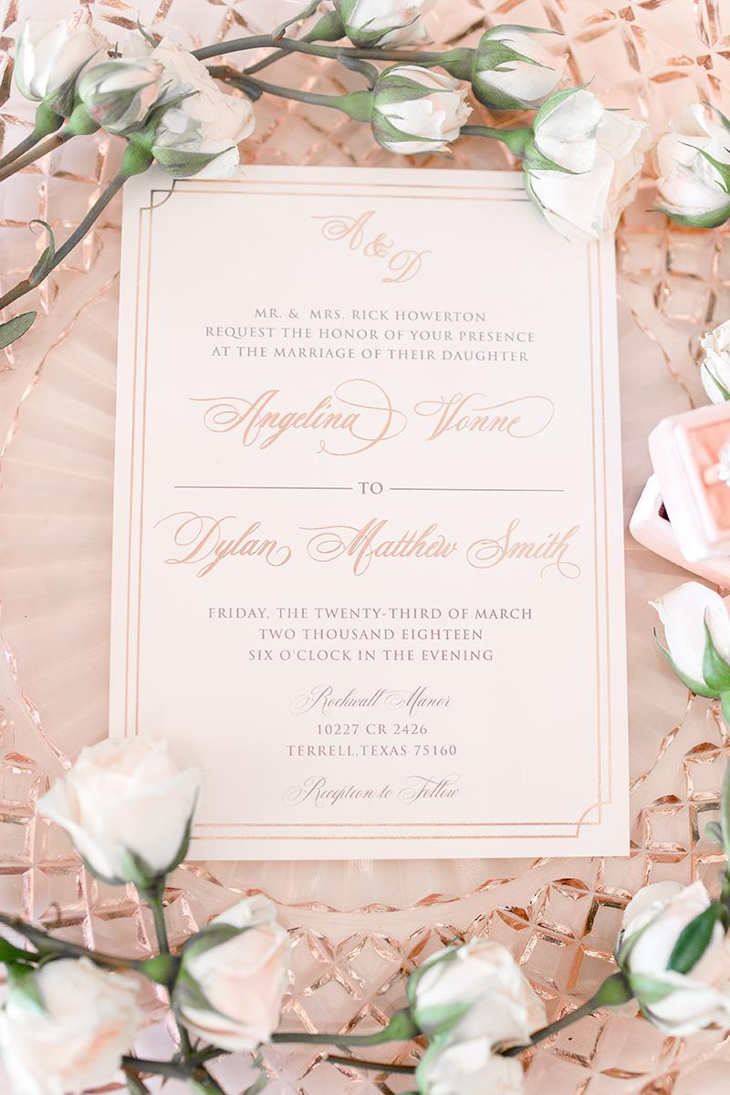 Rose Gold Foil Stamp Foil Press Blush Pink Luxury Elegant Wedding Invitation