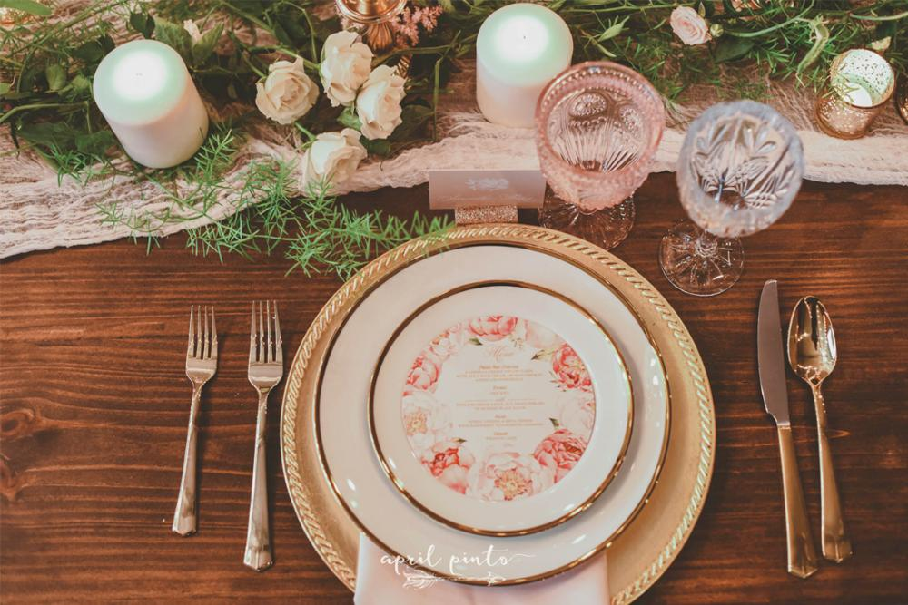 Garden Florals in Pink and Gold Circular Wedding Menu