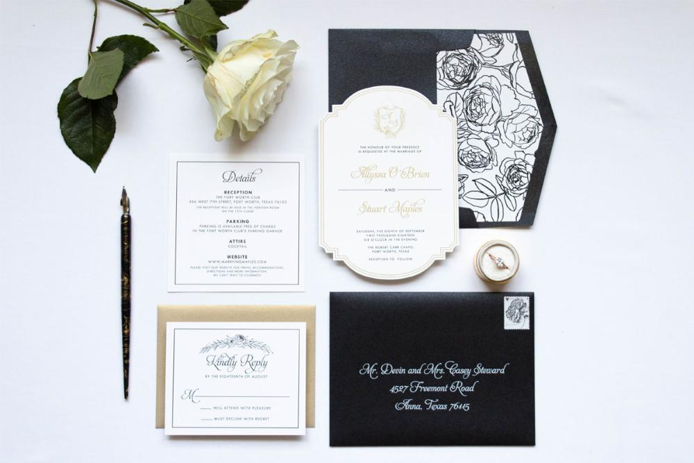 Formal Die Cut Metallic Gold Ink and Black Monogram Crest Roses Wedding Invitation with Rose Envelope Liner & Address Printing on Envelopes