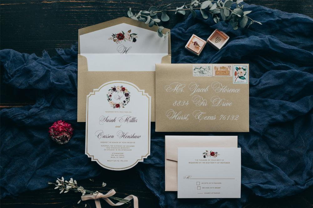 Die Cut Metallic Gold Ink Floral Wedding Invitation in Coral, Blush Pink & Burgundy