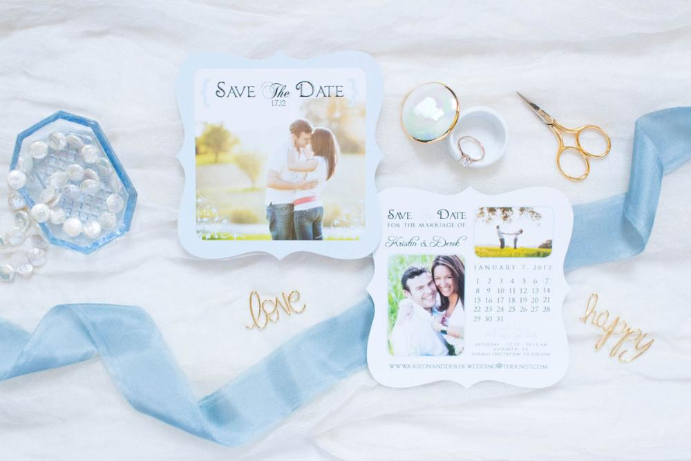 Light Blue and White Die Cut Save the Date Cards and Envelopes with Calendar