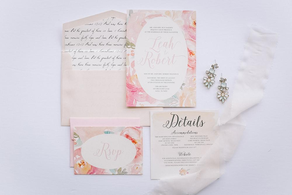 Pink Watercolor Floral Wedding Invitation Suite