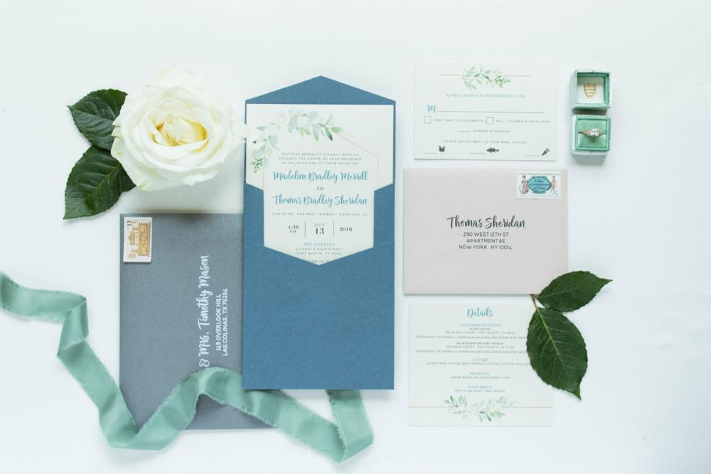 Geometric Modern Ivory Florals Leaves with Blush Pink & Gray Accents and Slate Blue Pocket Wedding Invitation