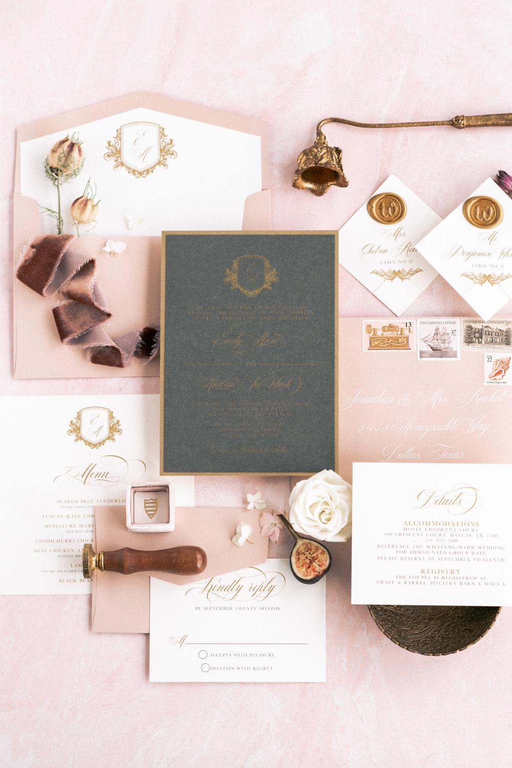 Modern Elegance Formal Charcoal Gray Gold And Pink Blush Layered Monogram Crest Wedding Invitation: Cly Modern Elegant Wedding Invitations At Websimilar.org