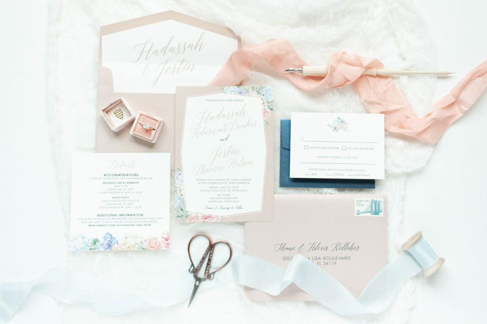 Floral Geometric Frame Calligraphy Wedding Invitation in Blush Pink, Light Blue and Navy with RSVP, Envelope Liner