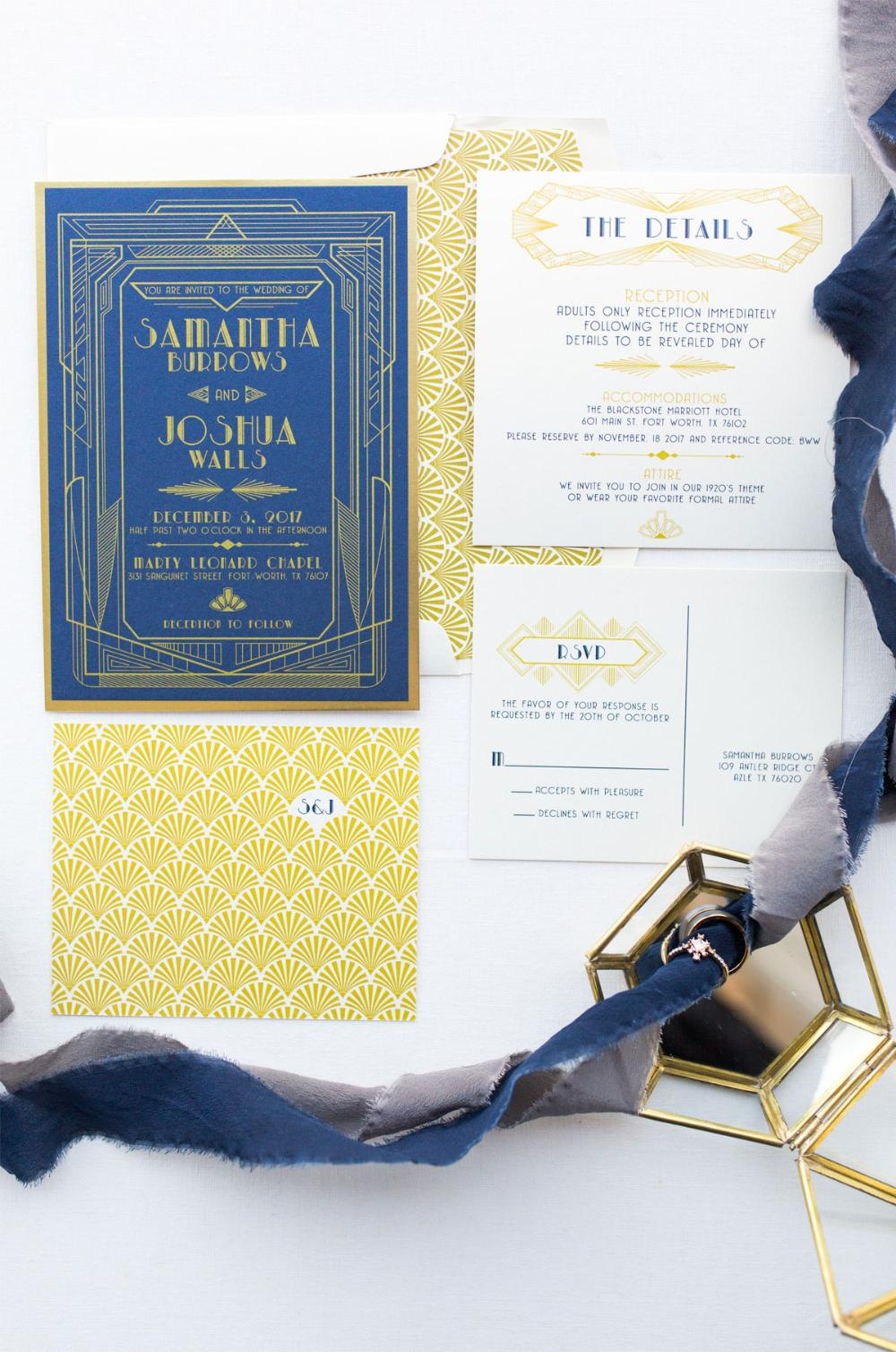 Navy Blue and Gold Art Deco Great Gatsby Roaring Twenties Themed Wedding Invitation, Details Insert and RSVP