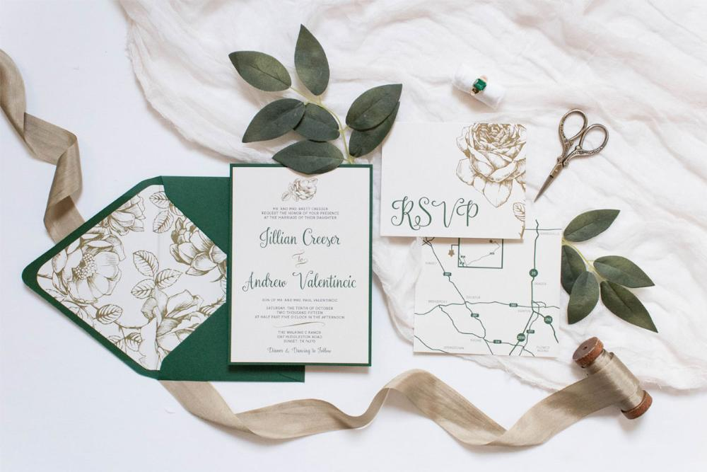 Metallic Gold Floral & Forest Green Modern Romantic Wedding Invitation