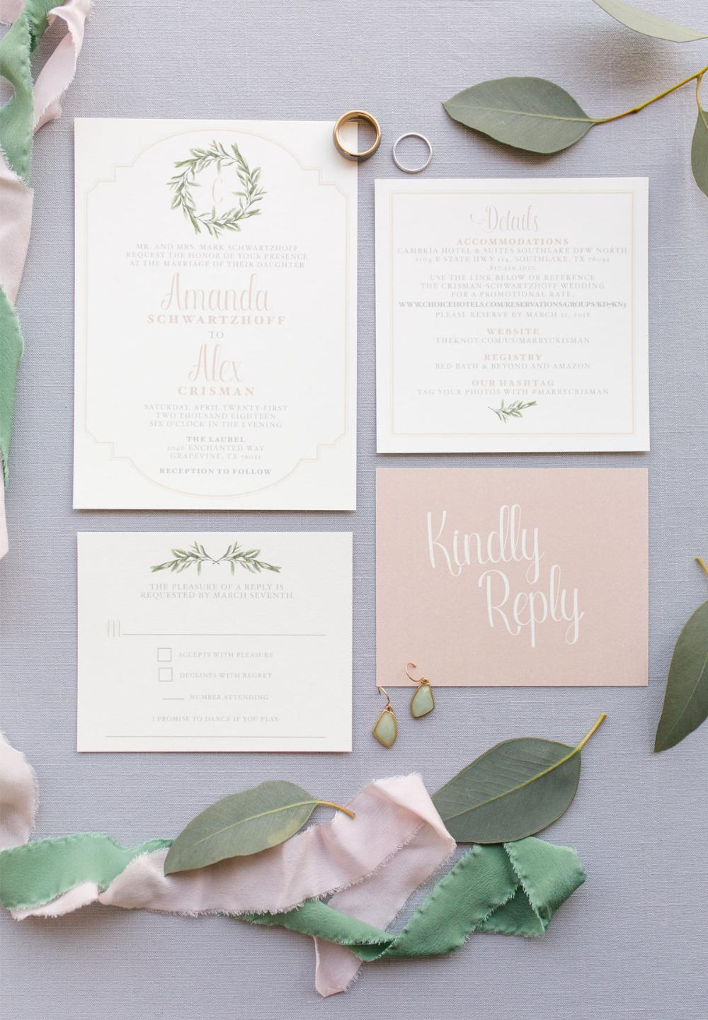 Pink Blush Neutral Ivory Greenery Leaves Wreath Monogram Wedding Invitation with Details and RSVP