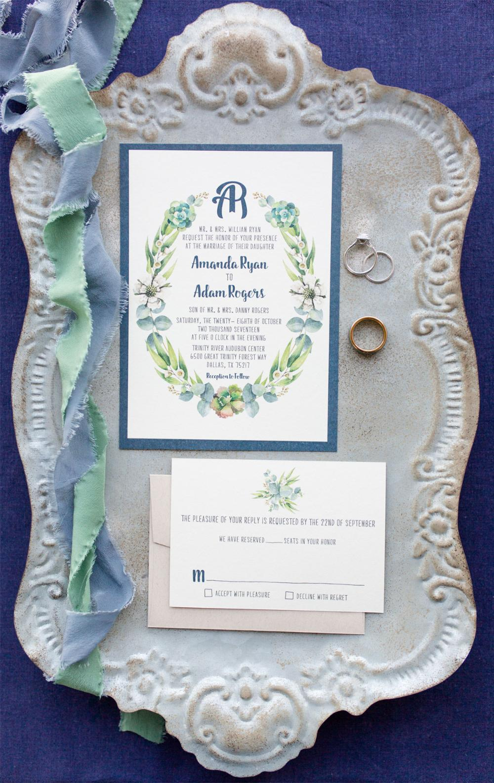 Modern Navy and Kraft Greenery Leaves Succulents Wreath Monogram Wedding Invitation with RSVP