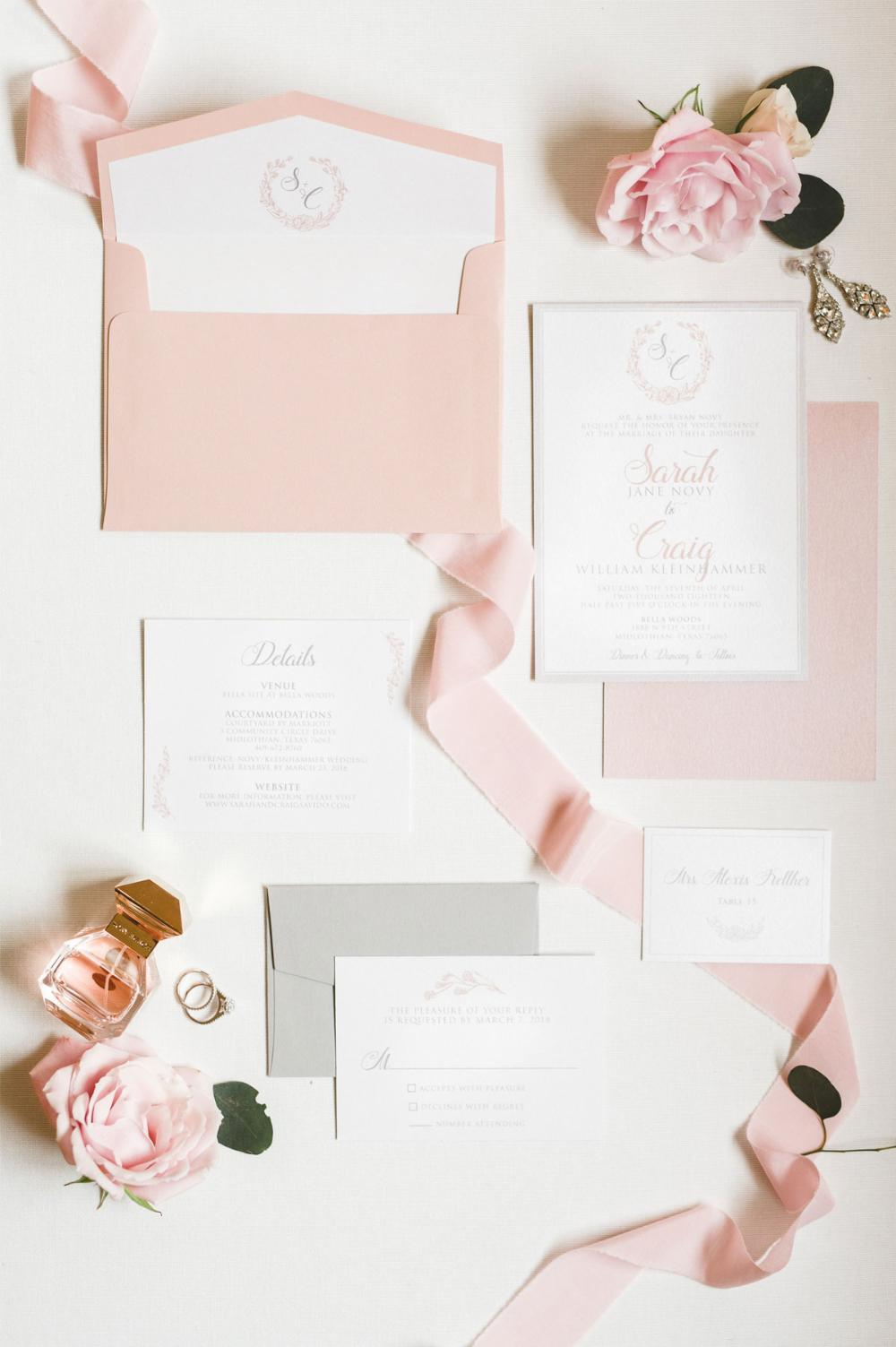 Floral Wreath Modern Monogram in Pink Blush and Grey Wedding Invitation with Details, RSVP