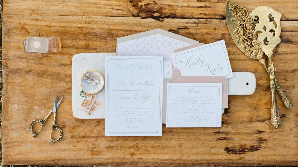 Modern Formal Pink Blush and Champagne Gold Elegant Wedding Invitation Suite with Envelope Liner & RSVP — Different Colors Available!